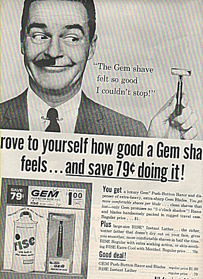 Gem Shave - Rise Soap Ad 1961