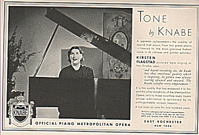 Tone By Knabe - Kirsten Flagstad Ad 1937