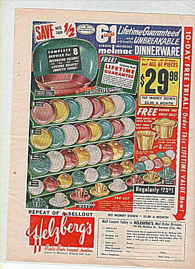 Helzberg's melmac dinnerware ad 1947 (Image1)
