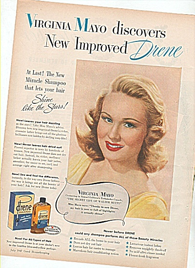 Drene shampoo - VIRGINIA MAYO  ad 1947 (Image1)