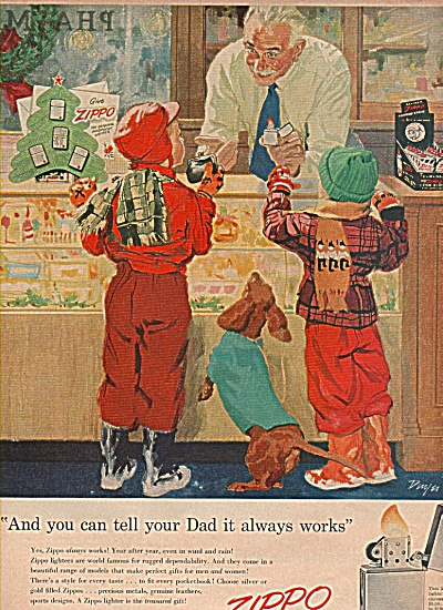 1955 ZIPPO LIGHTER Children / Daschund Buying Christmas (Image1)