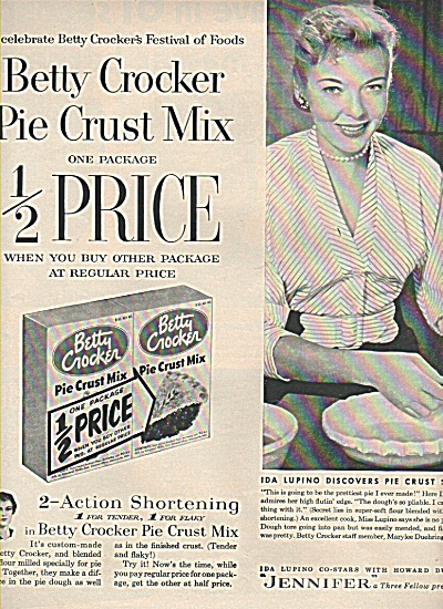 Better Crocker Pie Mix- Ida Lupino Ad 1955
