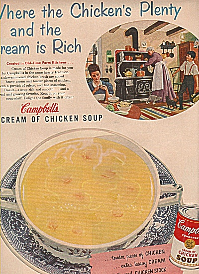 Campbell's cream of chicken soup ad 1955 (Image1)