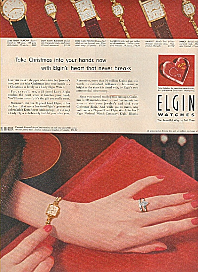 Elgin Watches Ad 1953