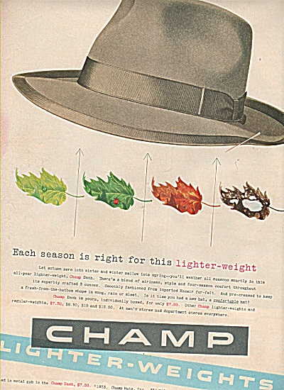 Champ Lighter-weights Hats Ad 1953