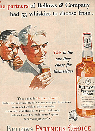 Bellows Whiskey Ad 1953