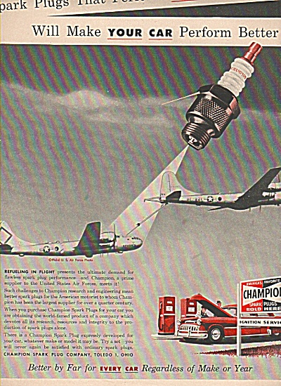 Champion Spark Plugs Ad 1953