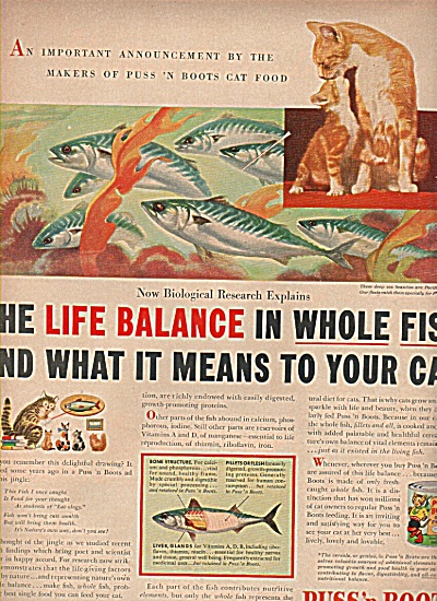 Puss 'n Boots Ad 1953 Balance With Fish