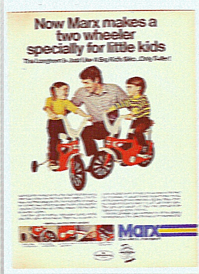 Marx Safety Tricycles Ad 1978 - Two Wheel Bike