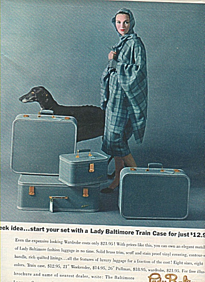 Lady Baltimore luggage ad 1958 LADY AND HOUND (Image1)