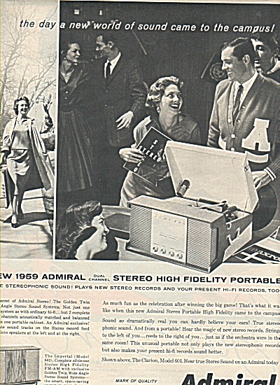 Admiral  stereo high lfidelity portable ad (Image1)