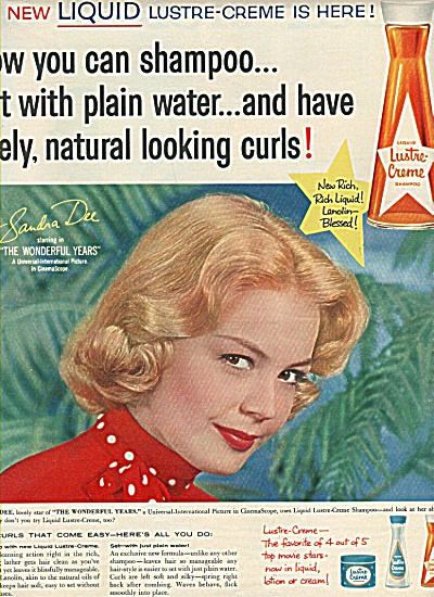 Lustre Creme shampooo - SANDRA DEE  ad 1958 (Image1)