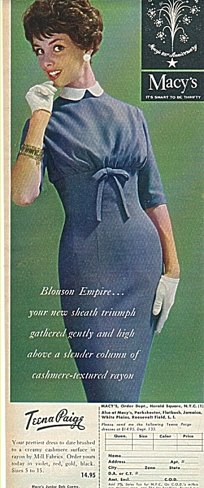 Macy's - Teena Paige dress ad 1958 FASHION MODEL (Image1)