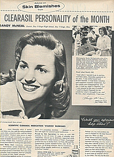 Clearasil personality of the month ad 1958 SANDY McNEAL (Image1)