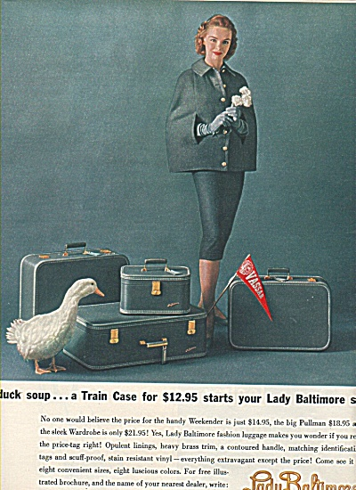 Lady Baltimore luggage ad 1958 LADY AND DUCK (Image1)