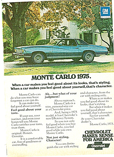 Chevrolet Monte Carlo Ad 1974 Feels Good