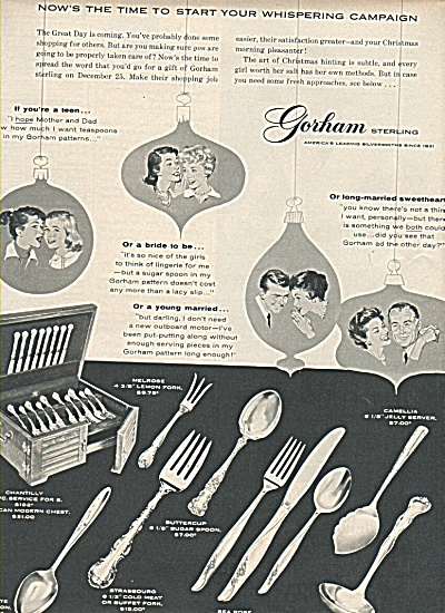 Gorham sterling ad 1958 WHISPERING CAMPAIGN (Image1)