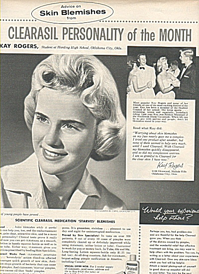 Clearasil personality of the month ad 1958 KAY ROGERS (Image1)