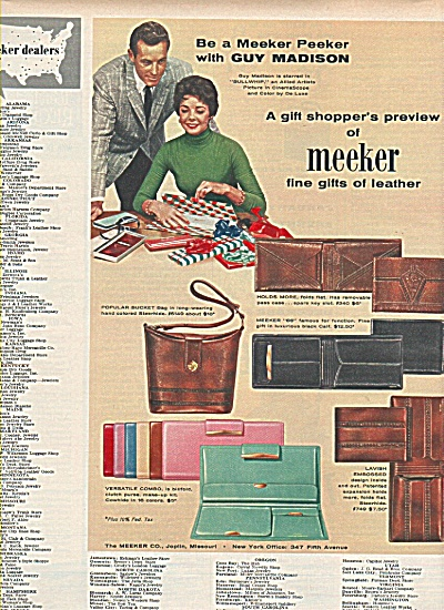 Meeker leather gifts - GUY MADISON AD  1958 (Image1)