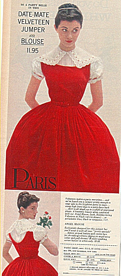 Paris clothes ad 1958 FASHION MODEL (Image1)