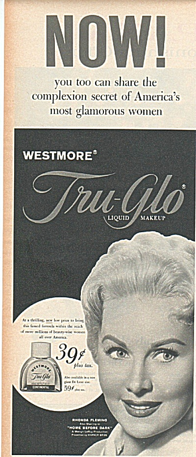Tru glo liquid makeup-RHONDA FLEMING  ad 1958 (Image1)