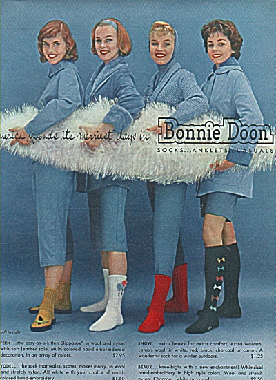 Bonnie Doon socks, anklets casuals ad 1958 (Image1)
