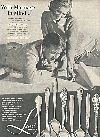 Lunt Sterling ad 1958 MARRIAGE IN MIND (Image1)