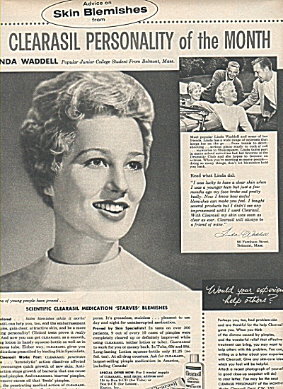 Clearasil personality of  month ad 1958 LINDA WADDELL (Image1)