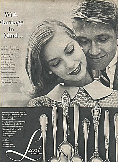 Lunt Sterling ad 1958 FASHION MODEL DESIGN (Image1)