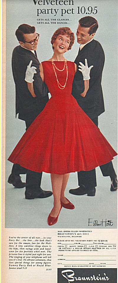 Braunstein's ad 1958 FASHION MODEL AND GUYS (Image1)