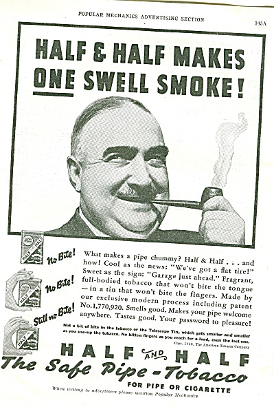 Half and Half pipe tobacco ad 1936 (Image1)