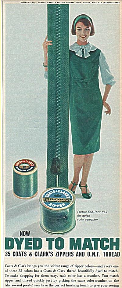 Coats and Clark's zipper and O.N.Thread ad (Image1)