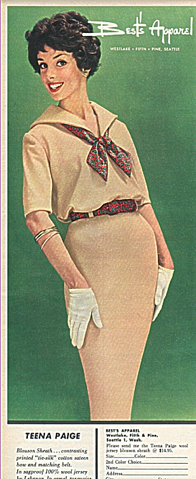 Best's apparel - Teena Paige ad 1958 FASHION BLOSSOM (Image1)