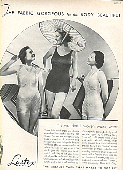 1936 AD ~ Lastex VINTAGE BATHING Suits - 3 MODELS Swim  (Image1)
