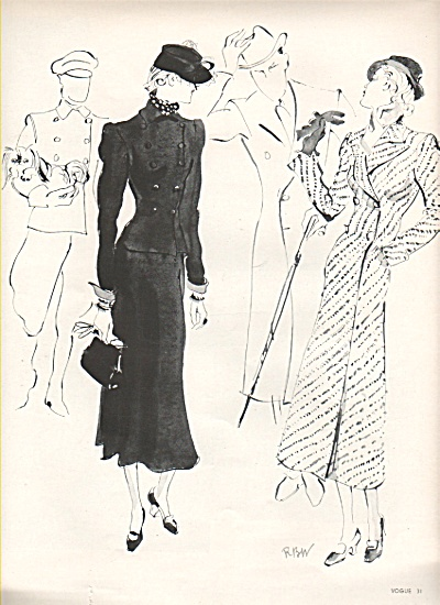 Men's & women's fashions of the era 1936 (Image1)