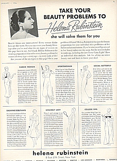 Helena Rubinstein ad - 1936 DIFFERENT WOMEN (Image1)