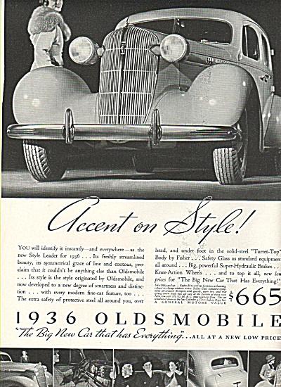 1936 Oldsmobile automobile ad (Image1)