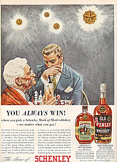 Schenley whiskey - Old Quaker whisky ad  1936 (Image1)