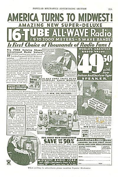 Midwest Radio Corp. Ad 1934