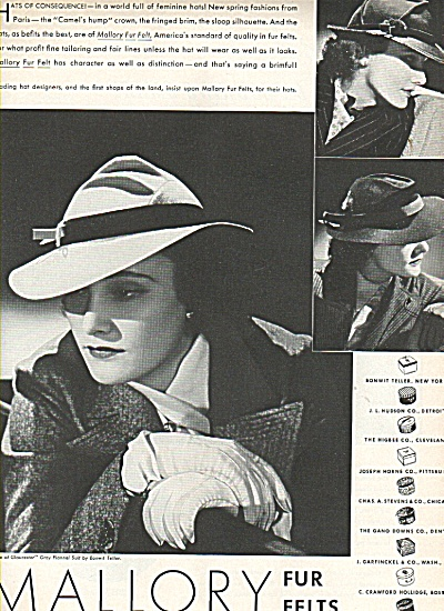 Mallory fur felts hats ad 1936 (Image1)