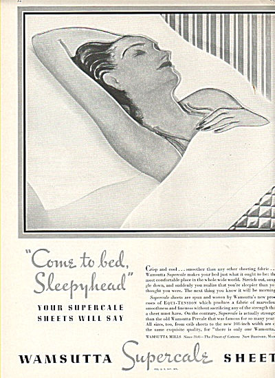 Wamsutta Supercale Sheets Ad 1936