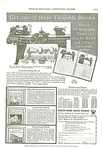 South Bend Lathe Works Ad 1934