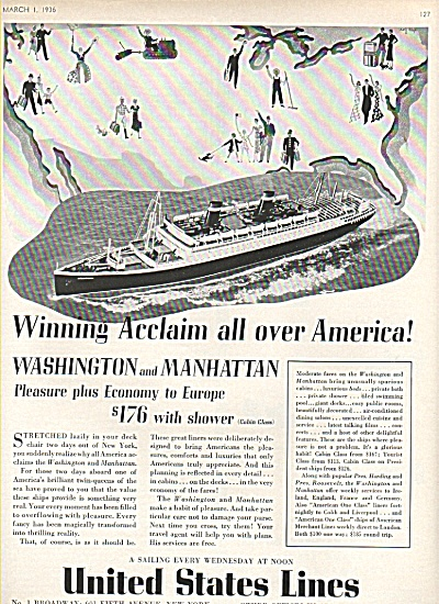 United States Lines ad 1936 PLEASURE PLUS (Image1)