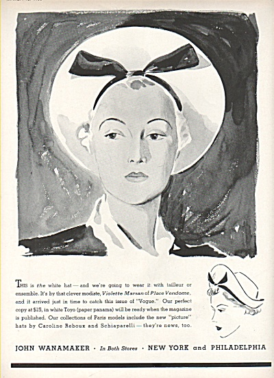 (1)John Wanamaker ad  (2) Hattie Carnagie ad (Image1)