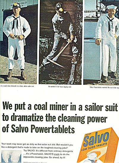 Salvo low suds tablets ad 1965 COAL MINER (Image1)