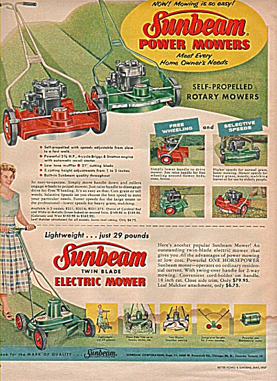 Sunbeam power mowers ad 1957 (Image1)
