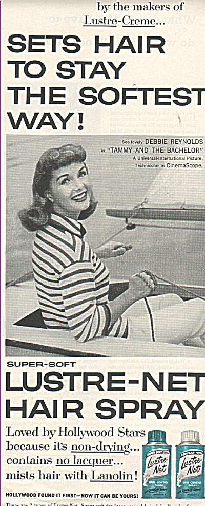 Lustre Net Spray- Debbie Reynolds Ad 1957