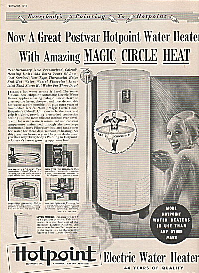 Hotpoint Electric Waterheaters Ad 1948