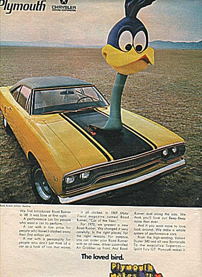 PlymouthRoad Runner ad for 1970 (Image1)