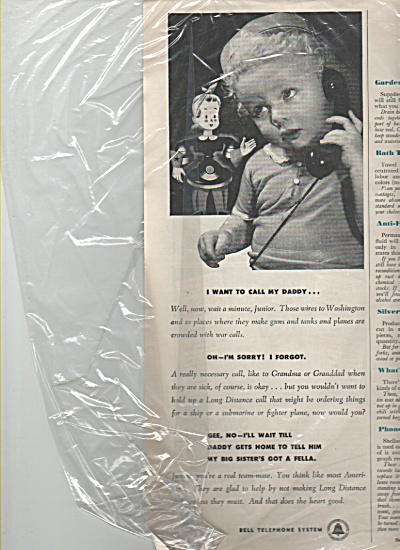 Bell Telephone system ad 1943 I WANT MY DADDY (Image1)